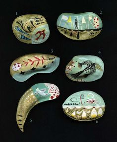 Six Brooches - Wood clay and Acrylic, painted by Elsa Mora