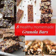 8 Healthy Homemade Granola Bars You Should Always Stash in Your Bag Healthy Granola Bars, Vegan Protein Bars, Homemade Granola Bars, Healthy Bars, Healthy Eating Recipes, Healthy Treats, Healthy Foods, Healthy Protein, Healthy Drinks