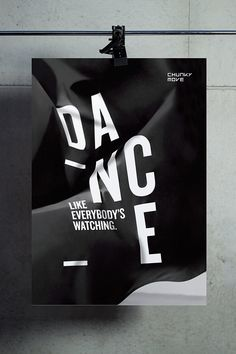 """The type treatment """"DANCE""""is the most emphasized feature of this poster. Just bold enough. I love the folded effect, it really makes this poster stand out from a standard ad! Graphic Design Posters, Graphic Design Typography, Graphic Design Illustration, Graphic Design Inspiration, Logo Typo, Typography Poster, Tool Design, Design Art, Print Design"""