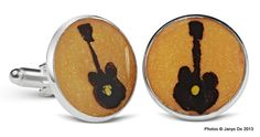 Handpainted cufflinks in resin by janysde.com. From the #music line