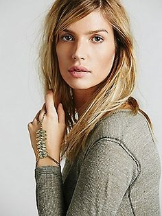 Free People Brass Stone Spine Handpiece at Free People Clothing Boutique