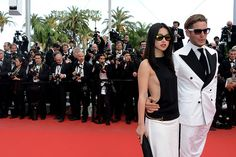 I just love this shot of red-carpet action. Italian businessman Lapo Elkann & guest in matching black and white. Not necessarily super stylish but eye-catching for sure! #Madagascar3premiere 65th Annual #Cannes Film Festival