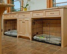 built in area for two dog crates