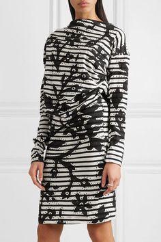 Vivienne Westwood Anglomania - Draped Printed Cotton-jersey Dress - Black -
