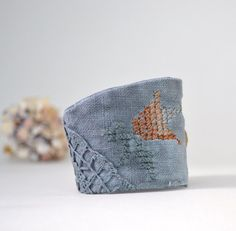 hand dyed grey linen embroidery wrist cuff  large  by redstitchlab, €32.00