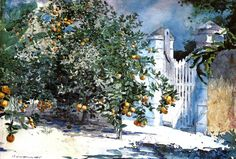 Orange Tree Nassau (aka Orange Trees and Gate ) - Winslow Homer, 1885