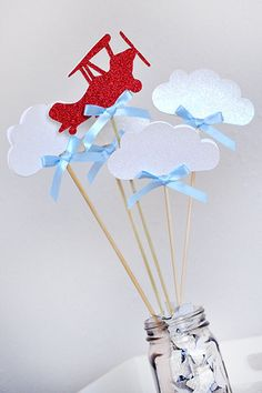 Airplane Party Decoration - ships in business days - Time Flies Wands - Airplane and Clouds Centerpiece - 5 COUNT - I would add a base of blue flowers. Planes Birthday, Planes Party, Baby Birthday, 1st Birthday Parties, Airplane Decor, Airplane Party, Baby Shower Centerpieces, Baby Shower Decorations, Time Flies Birthday