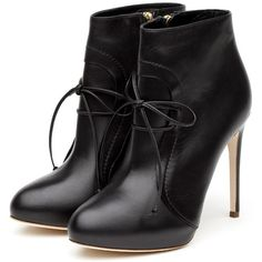 Rupert Sanderson High Heel Platform Booties ($650) ❤ liked on Polyvore featuring shoes, boots, ankle booties, heels, sapatos, booties, black boots, black platform booties, high heel boots and black heel boots
