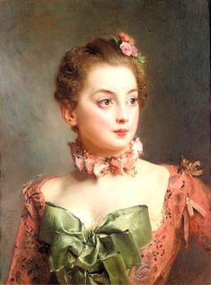 bumble button: Marie Antoinette and portraits of beautifully clothed women circa late 1700's