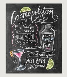Bar Cart Print Cosmopolitan Kitchen Chalk Art by LilyandVal