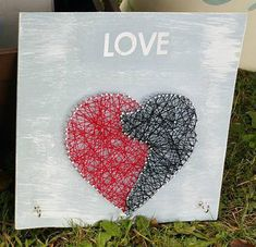 Dog Love String Art Sign With Vinyl Lettering and Key Hooks. Great gift for any Dog Lover
