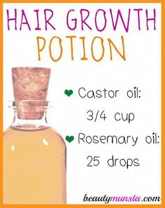 Castor Oil Rosemary Hair Growth Oil for Thinning Hair - beautymunsta - free natural beauty hacks and more!