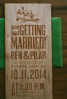 """Brides: Engraved Wood Wedding Invitation . """"Nature-Inspired Wood Engraved"""" wedding invitation suite laser engraved on real cherry wood, price available upon request, Wide Eyes Paper Co."""