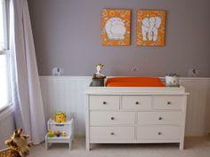 Vibrant Orange, White and Gray Baby Room,