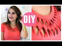 """DIY: Customização de Blusa """"Gola Decorada"""" por Elisa Bighetti - YouTube"""