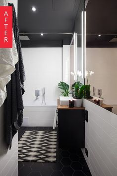 A tiny, dark, and outdated bathroom without a bathtub experienced a complete turnaround in this renovation. It is now modern and spacious and boasts that popular high contrast black and white look.