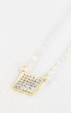 Kekipi necklace  gold square necklace squar cz by kealohajewelry, $49.00