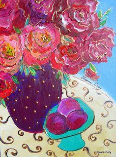 Yellow Vase Still life 16 x 20 Original by ElainesHeartsong