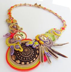 Soutache jewelry.Soutache necklace.OOAK.Handmade by beadsbyPanka, Ft29000.00