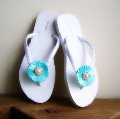 Tiffany Blue Wedding Flip Flops,Bridesmaids, Flower girls, Bridal Shower, Beach Weddings. $21.99, via Etsy.