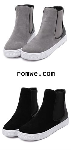 Leather Black and Grey Rubber Sole Chelsea Boots