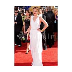 Celebrity Dress - Leighton Meester Style White Chiffon Sweep Train V-Neck Celebrity Dress (395 AUD) found on Polyvore
