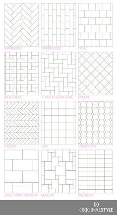 Your Guide to tile pattern layouts – Kitchen Rehab – Kreativ 12x24 Tile Patterns, Tile Layout Patterns, Shower Tile Patterns, Floor Design, Tile Design, Layout Design, Window Grill Design, Herringbone Tile, Bathroom Floor Tiles