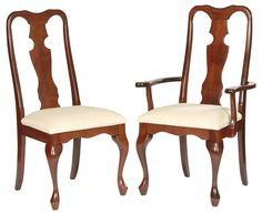 Charmant Queen Anne Chairs With Solid Splat And Thin Cabriole Leg.