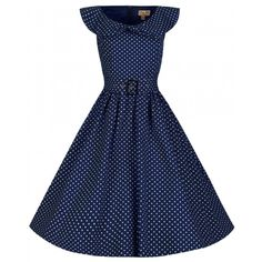 Retro šaty Lindy Bop Hetty Navy Polka