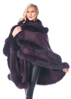 Enter our newest cashmere cape - the Empress double row cashmere cape in a fabulous rich deep purple plum. Winter Fashion 2015, Autumn Fashion, Pancho Outfit, Cashmere Cape, Beautiful Outfits, Beautiful Clothes, Couture Fashion, Fashion Beauty, Madison Avenue