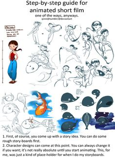 An amazing guide to putting together a short animation - there's some great tips in here, especially for the storyboarding/brainstorming stage  Step-by-step guide for an animated short film - by Qinni @ http://qinni.tumblr.com/tagged/animation