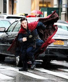 Benedict Cumberbatch on the set of Doctor Strange.