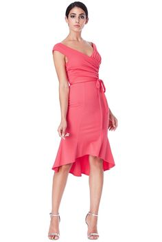 Olivia pleated κοραλί φόρεμα με ζώνη One Shoulder, Shoulder Dress, Wrap Dress, Coral, How To Wear, Range, Party, Dresses, Style