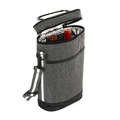 Cheap 2 Wine Tote Carrier – Insulated Portable Picnic Cooler Bag for 2 with Shoulder Straps and Outside Pocket in Gray –Wine Travel Bag Perfect for Picnic Camping Beach Park Travel Parties Wedding Concerts Picnic Cooler Bag, Picnic Backpack, Primitive Kitchen Decor, Travel Party, Wine Tote, Insulated Lunch Bags, Milk Cans, Travel Bag, Shoulder Straps