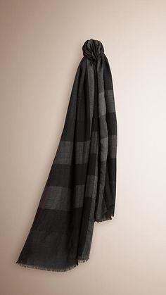 Carvão Cachecol leve de cashmere com padrão xadrez -  1