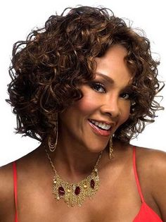 Vivica Fox Chilli Lace Front Wig, 27 Tipped mix of Light Auburn and Bright Blonde Curly Hair Cuts, Short Curly Hair, Short Hair Cuts, Curly Hair Styles, Natural Hair Styles, Winter Hairstyles, Trending Hairstyles, Curly Bob Hairstyles, Bob Haircuts