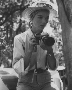 Elsa Martinelli on the set of Hatari