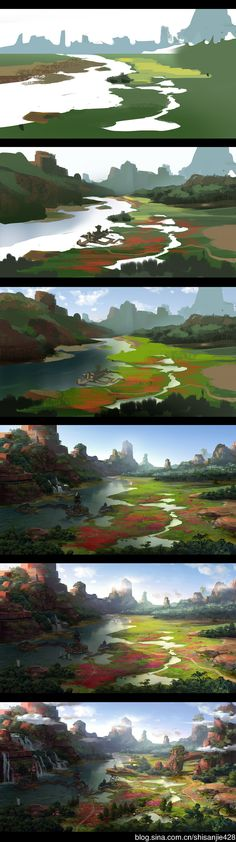 59 Best Ideas For Painting Art Landscape Backgrounds landschaft, Digital Painting Tutorials, Digital Art Tutorial, Art Tutorials, Concept Art Tutorial, Art Environnemental, Landscape Background, Landscape Artwork, Matte Painting, Painting Art