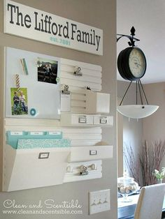 Pretty and functional kitchen command center.  Get organized for back to school!