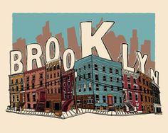 Items similar to Brooklyn Poster - 20 x 16 - 5 color limited edition silkscreen art print - Hero Design Studio on Etsy Hero Poster, I Love Ny, Travel Posters, Framed Artwork, Street Art, Illustration Art, Art Prints, Graphic Prints, Etsy
