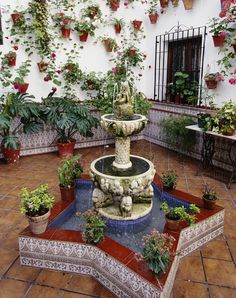 Fuente de un patio cordobés. España