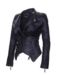 Made By Johnny Women's Biker Cool Faux Leather jacket