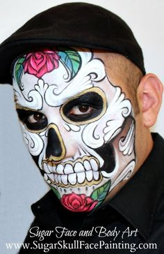 Related image Sugar Skull Face Paint, Sugar Skull Design, Sugar Skull Art, Sugar Skulls, Candy Skull Makeup, Halloween Make Up, Halloween Face, Sugar Skull Costume, Face Paint Makeup