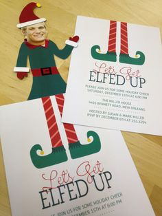"""Create your own elf body to go along with Mixbook's """"Let's Get Elfed Up"""" Party invitation! Guests will be pleasantly surprised! :)    http://www.mixbook.com/cards/holiday-party-invitations/let-s-get-elfed-up-3157?ptid=6050"""