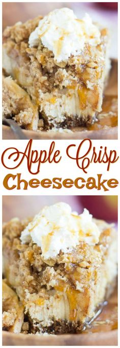 Apple crisp baked into a creamy and rich cheesecake. With an oatmeal cookie crust, rich cheesecake filling topped with sweet, cinnamony apples, and a boatload of oat streusel on top, this Caramel Apple Crisp Cheesecake is to-die-for! Caramel Apple Crumble, Mini Caramel Apples, Caramel Apple Cheesecake Bars, Cheesecake Recipes, Köstliche Desserts, Delicious Desserts, Non Chocolate Desserts, Health Desserts, Dessert Recipes