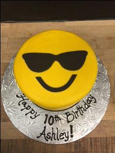 Sunglass emoji cake!