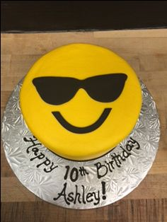 Sunglasses Emoji Cake Topper