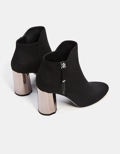 Black boots with metallic heel detail - Bershka High Heel Boots, Heeled Boots, High Heels, Metallic Ankle Boots, Black Boots, Dress Shoes, Shoes Heels, Cute Boots, Sock Shoes