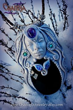 Winter Goddess Pendant-altar decoration black by ChaNoJaJewelry