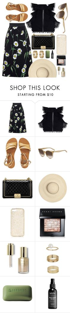 """""""Tropical"""" by smartbuyglasses ❤ liked on Polyvore featuring Dolce&Gabbana, Zimmermann, Billabong, CÉLINE, Chanel, Bobbi Brown Cosmetics, Stila, Miss Selfridge, Borghese and black"""